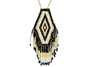 Pre-Owned Multi-Color Glass Seed-Bead 18k Yellow Gold Over Bronze Necklace