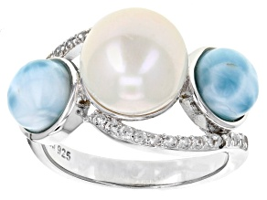 Pre-Owned Cultured Freshwater Pearl, Larimar And White Zircon Sterling Silver Ring