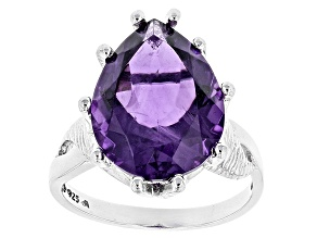 Purple African Amethyst Sterling Silver Solitaire Ring 7.00ct