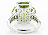 Green Peridot Sterling Silver Ring 6.72ctw