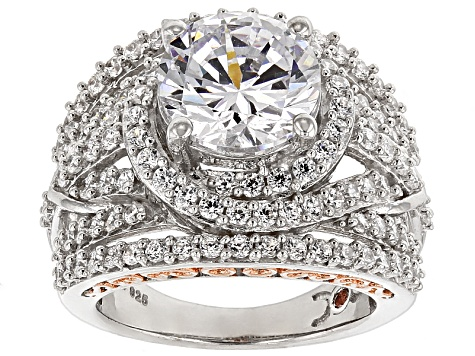 Pre-Owned Cubic Zirconia Silver And 18k Rose Gold Over Silver Ring 10.71ctw (5.61ctw DEW)