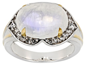 Pre-Owned Rainbow Moonstone and White Zircon 14K Gold over Silver and Silver two-tone Ring .40ctw