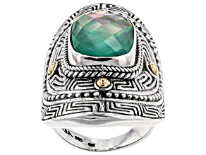 Green Onyx Triplet Silver And 18k Gold Accent Ring