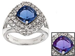 Blue Color Change Fluorite And White Zircon Sterling Silver Ring 4.01ctw