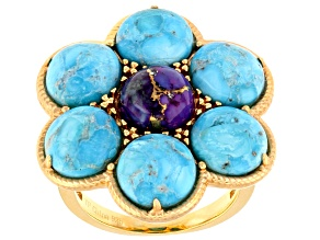 Pre-Owned Turquoise Arizona 18k Gold Over Silver Ring