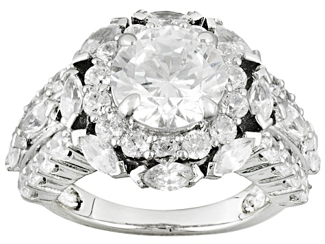 Rhodium Over Sterling Silver Cubic Zirconia Ring 6.21ctw