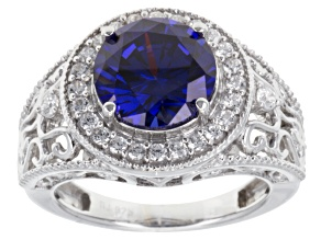 Blue And White Cubic Zirconia Silver Ring 7.50ctw