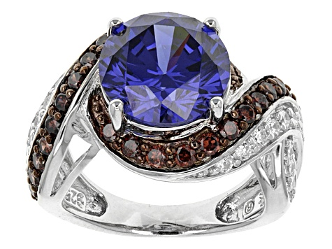 Blue, Brown, And White Cubic Zirconia Rhodium Over Sterling Silver Ring 8.16ctw