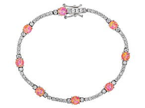 Synthetic Pink Opal And White Cubic Zirconia Rhodium Over Sterling Silver Bracelet 9.49ctw