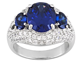 Blue And White Cubic Zirconia Sterling Silver Ring 9.18ctw