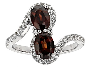 Pre-Owned Red And White Zircon Sterling Silver Ring 2.39ctw