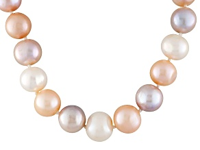 Pre-Owned Multi-Color Cultured Freshwater Pearl Rhodium Over Silver Necklace