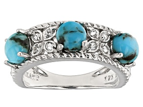 Pre-Owned Blue Turquoise And White Topaz Sterling Silver Band Ring .25ctw