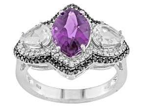 Pre-Owned Purple African Amethyst, Black Spinel And  White Topaz Sterling Silver Ring. 2.88ctw