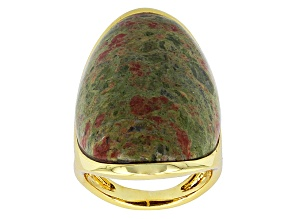 Green Unakite 18k Yellow Gold Over Bronze Ring