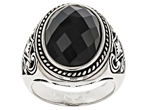 Pre-Owned Black Onyx Sterling Silver Mens Ring