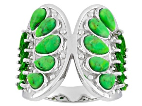 Pre-Owned Green Turquoise And Chrome Diopside Sterling Silver Ring 1.08ctw
