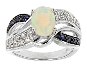 Pre-Owned Ethiopian Opal, Blue Sapphire And White Zircon Sterling Silver Ring. 1.01ctw