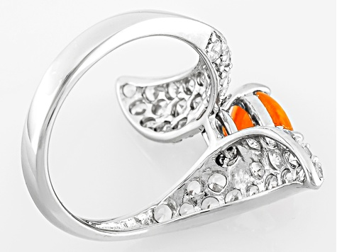 Pre-Owned Orange Ethiopian Opal And White Zircon Sterling Silver Bypass Ring 1.58ctw