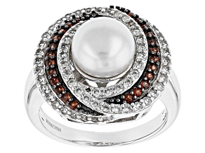 Pre-Owned Cultured Freshwater Pearl With Garnet, Zircon Rhodium Over Silver Ring 8.5-9mm