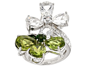 Pre-Owned Green Russian Chrome Diopside, Peridot And White Topaz Sterling Silver Ring 14.84ctw