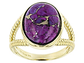 Purple Turquoise 18k Yellow Gold Over Sterling Silver Ring