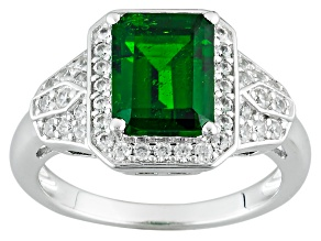 Pre-Owned Green Chrome Diopside And White Zircon Sterling Silver Ring 2.69ctw