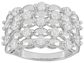 Cubic Zirconia Silver Ring 2.07ctw