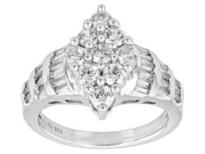 Cubic Zirconia Silver Ring 3.16ctw (1.89ctw DEW)