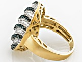 Pre-Owned Diamond, 14k Yellow Gold Over Sterling Silver Cluster Ring.