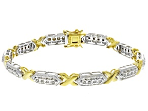 Pre-Owned White Diamond Rhodium And 14k Yellow Gold Over Sterling Silver Bracelet .50ctw