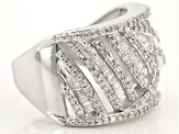 Pre-Owned Diamond Rhodium Over Sterling Silver Cluster Ring .95ctw