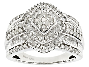 Pre-Owned White Diamond Rhodium Over Sterling Silver Ring .95ctw
