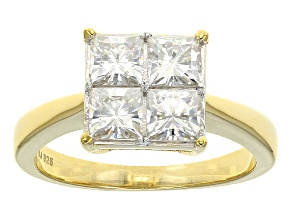 Pre-Owned Moissanite 14k Yellow Gold Over Silver Ring 1.64ctw D.E.W