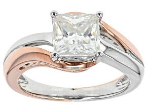 Moissanite Fire(R) 1.80ct DEW Platineve(TM) And 14k Rose Gold Over Platineve  Two Tone Ring