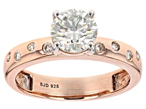Pre-Owned Moissanite Fire(R) 1.28ctw DEW Round 14k Rose Gold Over Sterling Silver Ring
