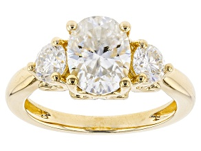 Pre-Owned Moissanite Fire(R) 2.76ctw DEW Oval And Round 14k Yellow Gold Over Silver Ring