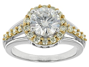 Pre-Owned Moissanite And Yellow Diamond Ring Platineve(TM)