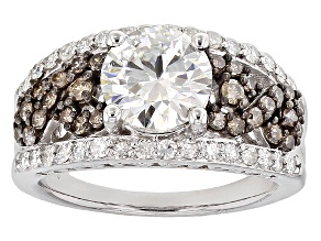 Pre-Owned Moissanite And Brown Diamond Ring Platineve(TM)