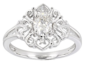 Pre-Owned Moissanite Fire(TM) .92ctw Diamond Equivalent Weight Oval And Round Platineve(TM) Ring
