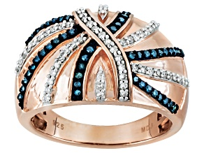 Pre-Owned Blue And White Diamond 18k Rose Gold Over Sterling Silver Ring .40ctw