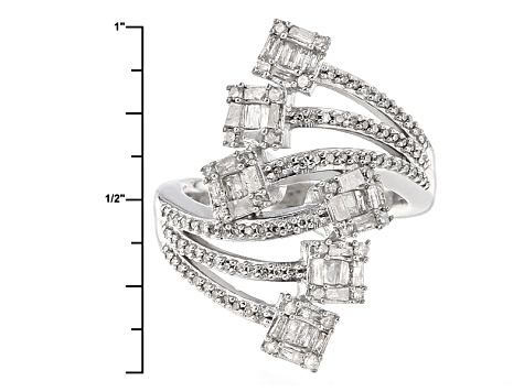 Pre-Owned Rhodium Over Sterling Silver Diamond Ring 1.00ctw
