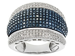 Pre-Owned Blue And White Diamond Silver Ring 1.00ctw