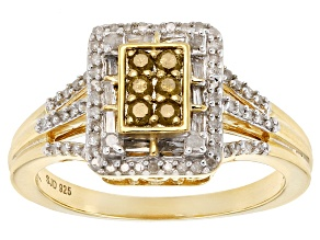 Pre-Owned Yellow And White Diamond 14k Yellow Gold Over Sterling Silver Ring .40ctw