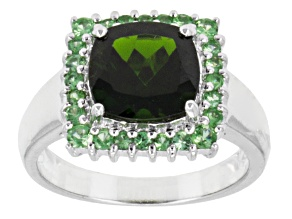 Green Russian Chrome Diopside Sterling Silver Ring 2.87ctw