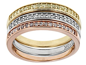 Pre-Owned Yellow, Pink And White Diamond Three-Tone Gold Ring .25ctw