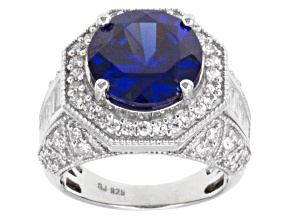 Blue And White Cubic Zirconia Silver Ring 11.68ctw