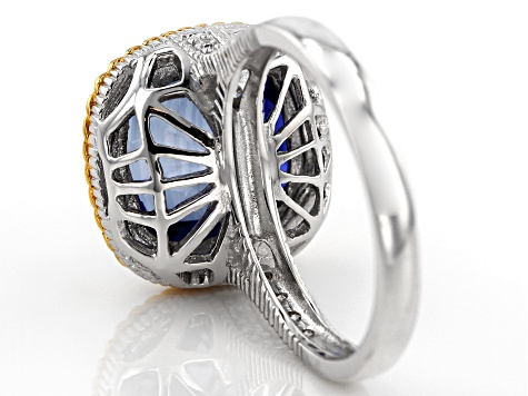 lab created sapphire/white cubic zirconia rhodium & 18k yellow gold over silver ring