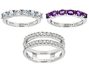 Purple Amethyst Sterling Silver 3 Ring Set 1.90ctw