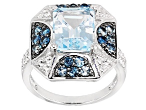 Sky Blue And White Topaz Sterling Silver Ring 4.26ctw